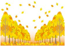 Vector Landscape of Autumn leaves. A colorful autumn leaves image. A frame made with a vector. For banners and posters royalty free illustration