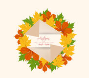 Colorful autumn leaves on a old paper retro Stock Photos