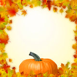 Colorful autumn leaves with Pumpkin. EPS 8 Stock Photo