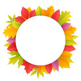 Colorful Autumn Leaves Round Frame Royalty Free Stock Image