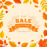 Colorful autumn leaves and sale text. Royalty Free Stock Photos