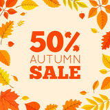Colorful autumn leaves and sale text. Royalty Free Stock Image