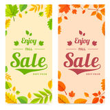 Colorful autumn leaves and sale text. Stock Images