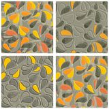 Colorful autumn leaves seamless pattern set Stock Images