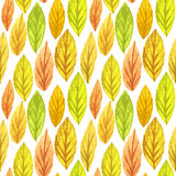 Colorful autumn leaves seamless pattern. Watercolor painting texture. Vector illustration. EPS10 Stock Photo
