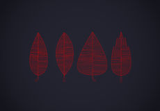 Colorful autumn leaves set lines on dark royalty free illustration