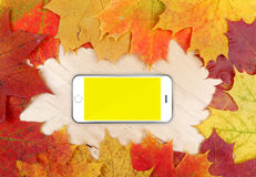 Colorful autumn leaves and smartphone on wooden background te Royalty Free Stock Photos