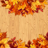 Colorful autumn leaves on a wooden background. Vector illustration. Royalty Free Stock Photography