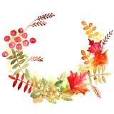 Colorful autumn leaves wreath Stock Image