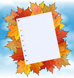 Colorful autumn maple leaves with note paper Royalty Free Stock Image