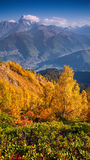 Colorful autumn morning in the Caucasus mountains Royalty Free Stock Images