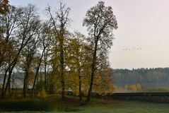 Free Colorful Autumn Morning In Lithuania.Old Park Royalty Free Stock Images - 201144849