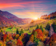 Colorful autumn morning in mountain village Royalty Free Stock Image