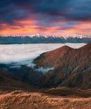 Colorful autumn morning near famous Koruldi lakes. Royalty Free Stock Image