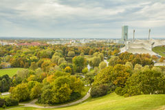 Colorful autumn over Olympiapark in Munich, Bavaria, Germany Stock Photo