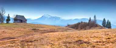 Colorful autumn panorama of mountain village Stock Photography