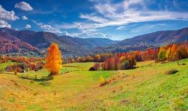 Colorful autumn panorama of mountain village Stock Photos