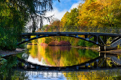 Colorful autumn in the park, old bridge and beautiful water reflections. Stock Images