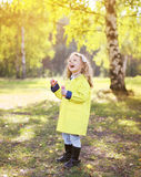 Colorful autumn photo, little child having fun. Outdoors Royalty Free Stock Photography