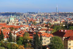Colorful autumn Prague City with its Towers Stock Photo