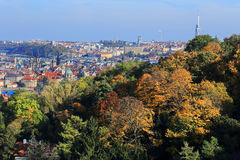 Colorful autumn Prague City with its Towers Stock Image