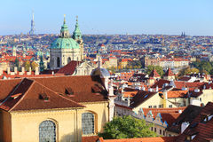 Colorful autumn Prague City with its Towers Stock Photography
