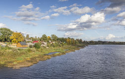 Colorful autumn riverside in Jekabpils, Latvia. Autumn river and forest Royalty Free Stock Photo