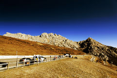 The colorful autumn scenery along the way to Huanglong national park Royalty Free Stock Photo