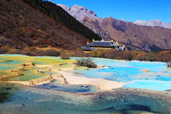 The colorful autumn scenery of Huanglong national park Stock Images