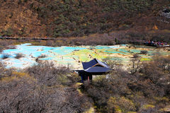 The colorful autumn scenery of Huanglong national park Royalty Free Stock Photo