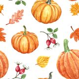 Colorful autumn seamless pattern. Watercolor hand painted pumkins, orange, red and yellow leaves and berries on white background.