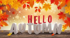 Autumn seasonal background with red falling leaves on wooden plank Royalty Free Stock Photo
