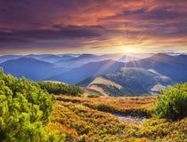 Colorful autumn sunrise in Carpathian mountains. Stock Photos