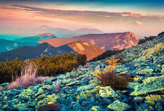 Colorful autumn sunrise in the Carpathian mountains. Royalty Free Stock Photo