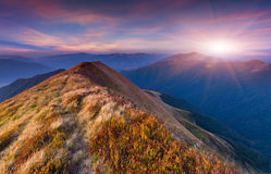 Colorful autumn sunrise in the mountains. Royalty Free Stock Photo