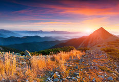 Colorful autumn sunrise in mountains. Royalty Free Stock Photo