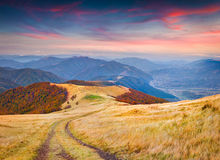 Colorful autumn sunrise in mountains. Royalty Free Stock Image