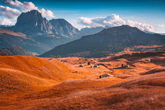 Colorful autumn sunsert on the Sassolungo (Langkofel) group Stock Image