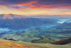 Colorful autumn sunset in the Carpathian mountains Royalty Free Stock Photos