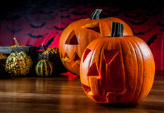 Colorful autumn theme with halloween scary pumpkins Stock Photo