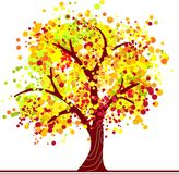Colorful autumn tree. Autumn tree made of colorful dots in bright colors Stock Images