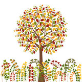 Colorful Autumn Tree Background. Colorful Autumn Tree and Herb Background stock illustration