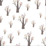 Colorful autumn tree pattern. Pattern forest with colorful autumn trees Royalty Free Stock Images