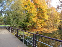 Colorful autumn trees and bridge , Lithuania Stock Photography