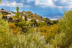 Colorful autumn trees and mountain village aerial view Royalty Free Stock Photo