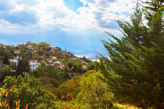 Colorful autumn trees and mountain village aerial view Royalty Free Stock Image