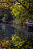 Colorful Autumn trees with reflection into the water. Autumn trees reflecting into stream Stock Photography