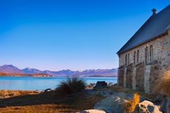 Colorful autumn view of Lake Tekapo with Church of good shepherd Stock Images