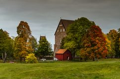 Colorful autumn at the viking burial site in Old Uppsala, Sweden. Autumn colors at the viking burial site in Old Uppsala, Sweden royalty free stock images