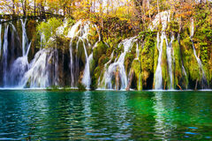 Colorful autumn and waterfall in the Plitvice Lakes National Par Stock Photo